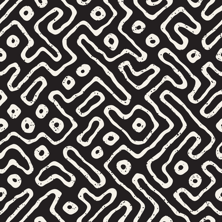 tiling: Seamless pattern with maze lines. Monochrome abstract grungy background. Vector hand drawn labyrinth. Illustration