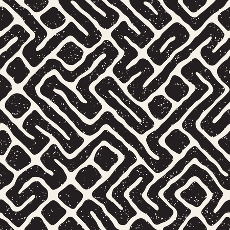 Seamless pattern with maze lines. Monochrome abstract grungy background. Vector hand drawn labyrinth. Illustration