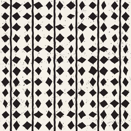 vintage postcard: Hand drawn style ethnic seamless pattern. Abstract grungy geometric shapes background in black and white. Illustration