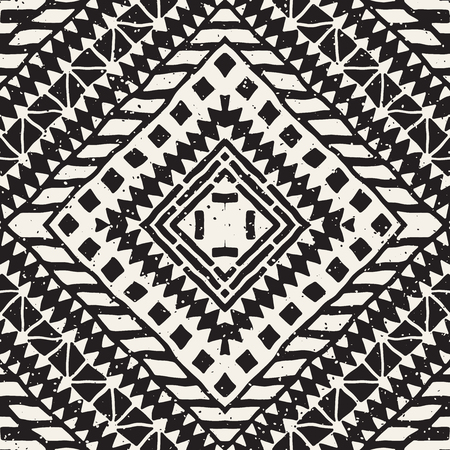 hand print: Hand drawn painted seamless pattern. Vector tribal design background. Ethnic motif. Geometric ethnic stripe lines illustration. Black and white colors. For art prints, textile, wallpaper, wrapping paper.