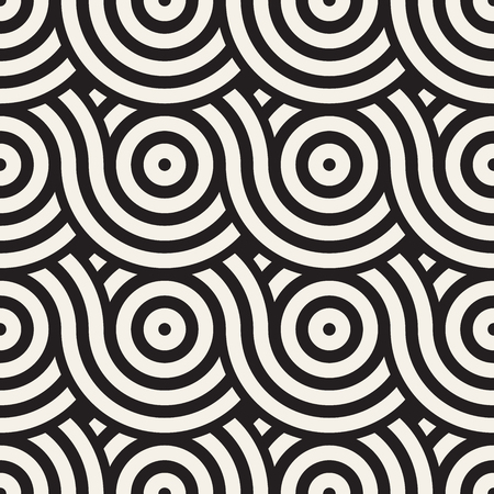 Vector seamless geometric pattern composed with circles and lines. Modern stylish rounded stripes texture. Repeating abstract background