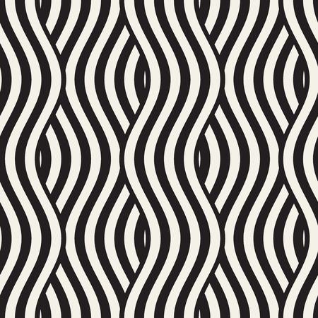 Modèle géométrique abstrait avec des lignes ondulées. Entrelacé de motifs rayés à rayures arrondies. Fond de vecteur sans couture.