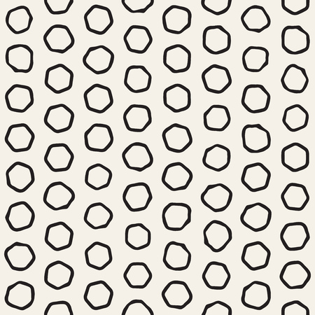 clutter: Stylish Doodle Scattered Shapes. Artistic Hand Drawn Texture. Vector Seamless Black And White Freehand Pattern
