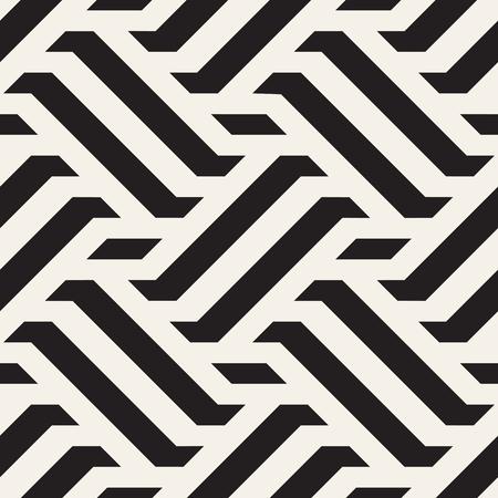 Vector Seamless Pattern. Modern Stylish Interlacing Lines Texture. Geometric Striped Ornament. Monochrome Linear Braids