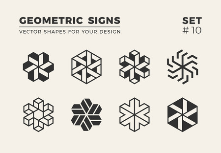 Set of eight minimalistic trendy shapes. Stylish vector logo emblems for Your design. Simple creative geometric signs collection. Imagens - 88528778