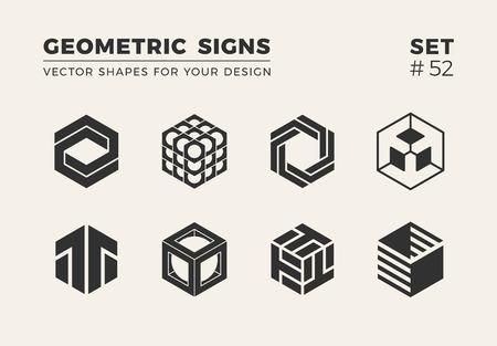 Set von acht minimalistischen trendigen Formen. Stilvolle Vektorlogoembleme für Ihr Design. Einfache kreative geometrische Zeichensammlung.