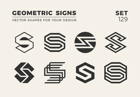 Set of eight minimalistic trendy shapes for logo or emblem