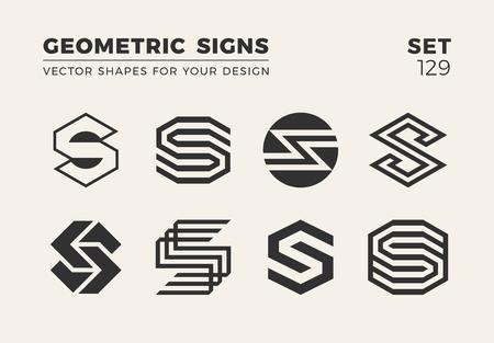 Set of eight minimalistic trendy shapes for logo or emblem