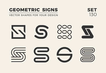Set of eight minimalistic trendy shapes for logo and emblem, vector illustration