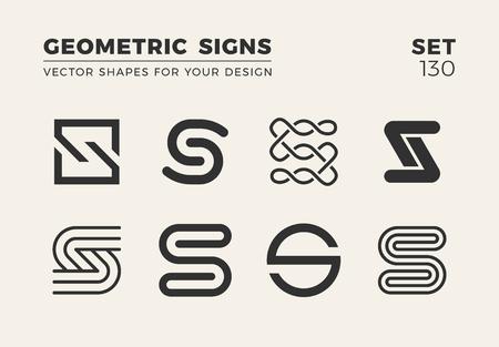 Zestaw ośmiu minimalistycznych modnych kształtów logo i godła, ilustracji wektorowych Logo