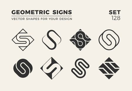 Set of eight minimalistic trendy shapes for logo and emblem design vector illustration