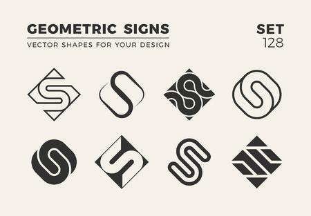 Set van acht minimalistische trendy vormen voor logo en embleem ontwerp vectorillustratie