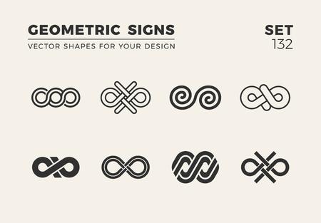Set of eight minimalistic trendy shapes for logo and emblem design vector illustration