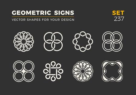 Ensemble de huit formes à la mode minimalistes. Emblèmes de logo vectoriel élégant pour votre conception. Collection de signes géométriques universelles simples.