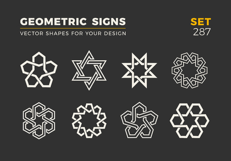 Set of eight minimalistic trendy shapes. Stylish vector emblems for Your design. Simple universal geometric signs collection. Illustration