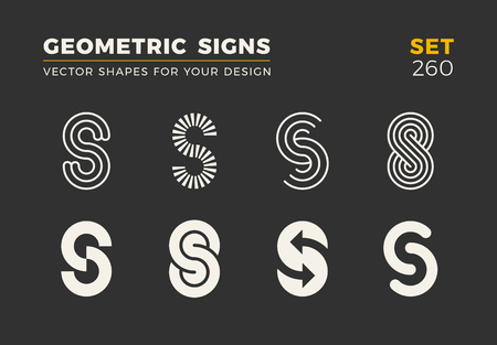 Set von acht minimalistischen trendigen Formen. Stilvolle Vektorlogoembleme für Ihr Design. Einfache universelle geometrische Zeichen Sammlung.