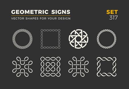 Ensemble de huit formes à la mode minimalistes. Emblèmes de logo vectoriel élégant pour votre conception. Collection de signes géométriques universelles simples. Logo