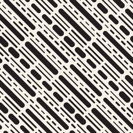 Black and White Irregular Rounded Dashed Lines Pattern.