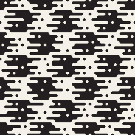 Vector seamless pattern with geometric spots. Monochrome random line streaks. Contrast repeating stylish background design