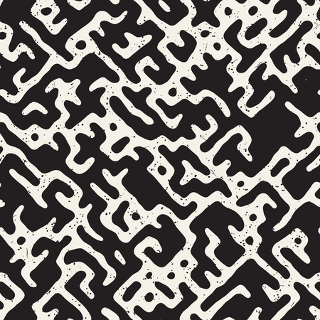 Vector Seamless Black And White Rounded Irregular Maze Pattern. Abstract Hand Drawn Geometric Background