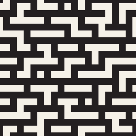 Irregular Tangled Shapes. Abstract Geometric Background Design. Vector Seamless Black and White Chaotic Pattern.
