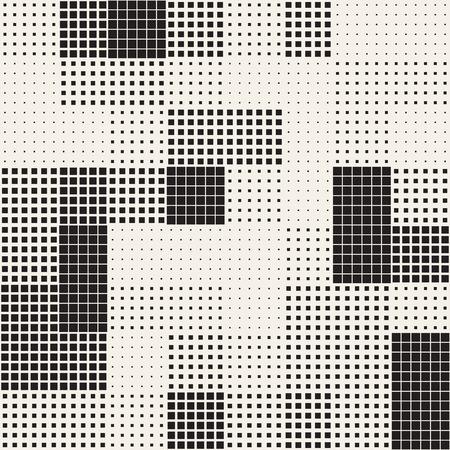 Moderne stilvolle Halbton Textur. Endloser abstrakter Hintergrund mit gelegentlichen Größen-Quadraten. Vektor-nahtloses chaotisches Quadrat-Mosaik-Muster