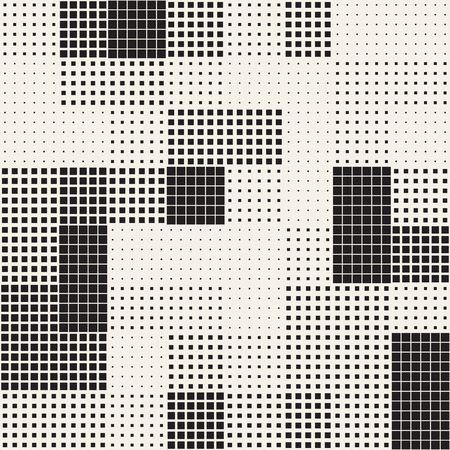 Modern Stylish Halftone Texture. Endless Abstract Background With Random Size Squares. Vector Seamless Chaotic Squares Mosaic Pattern Vettoriali