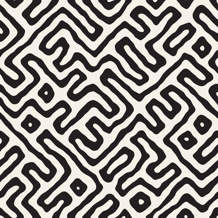 A Vector Seamless Black And White Rounded Irregular Maze Pattern. Abstract Hand Drawn Geometric Background