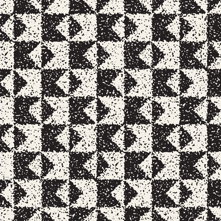Abstract noisy textured geometric shapes background. Vector seamless vintage grungy pattern. Vetores