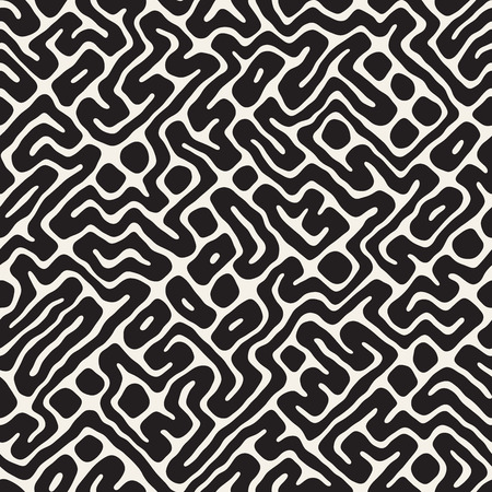 Rounded Irregular Maze Pattern; Abstract Hand Drawn Geometric Background in black and white illustration.