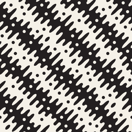 Vector seamless pattern with geometric spots. Monochrome random line streaks. Contrast repeating stylish background design