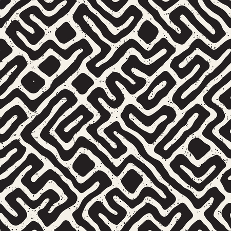 Vector Seamless Black And White Rounded Irregular Maze Pattern.