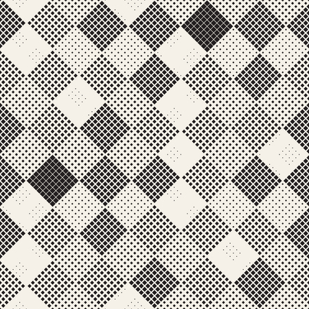 Modern Stylish Halftone Texture. Endless Abstract Background With Random Size Squares. Vector Seamless Chaotic Squares Mosaic Pattern Vectores