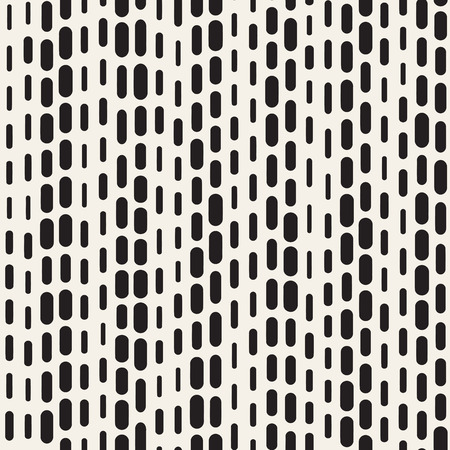 Black and White Irregular Rounded Dashed Lines Pattern. Modern Abstract Vector Seamless Background. Stylish Chaotic Rectangle Stripes Mosaic