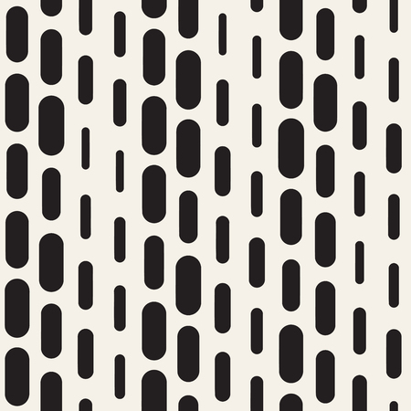 Black and white irregular rounded dashed lines pattern. Modern abstract seamless background. Stylish chaotic rectangle stripes mosaic. 일러스트