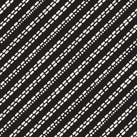 Black and White Irregular Rounded Dashed Lines Pattern. Modern Abstract Vector Seamless Background.