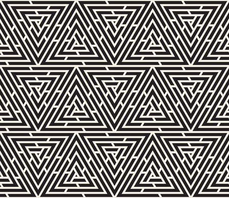 Vector seamless pattern. Modern stylish texture. Repeating geometric tiles from striped triangle elements Çizim