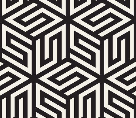 Vector seamless pattern. Modern stylish abstract texture. Repeating geometric tiles from striped elements.