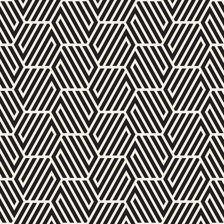 Vector seamless abstract shapes pattern. Modern stylish stripes texture. Repeating geometric tiles with hexagonal elements