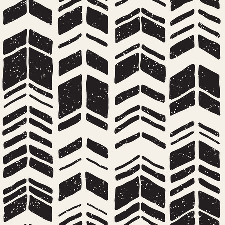 Vector seamless freehand pattern. Doodle monochrome print with hand drawn chevron texture. Trendy graphic design. Ilustrace