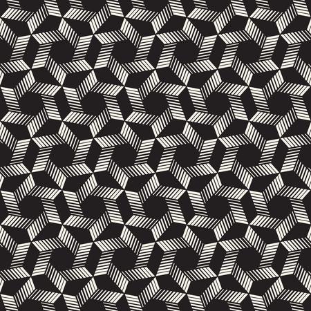 Un modello di strisce senza cuciture di vettore. Texture moderna ed elegante con traliccio monocromatico. Ripetendo la griglia esagonale geometrica. Semplice design grafico a traliccio.