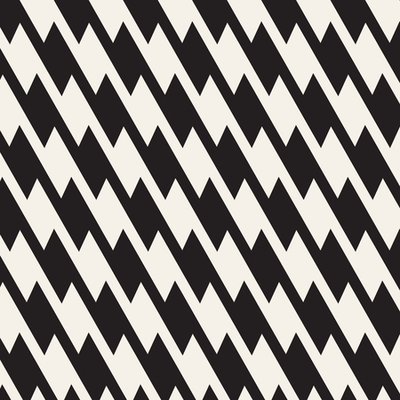 Zigzag lines surface. Jagged stripes seamless pattern. Vector design with triangular waves. Repeated chevrons wallpaper ornament.  イラスト・ベクター素材