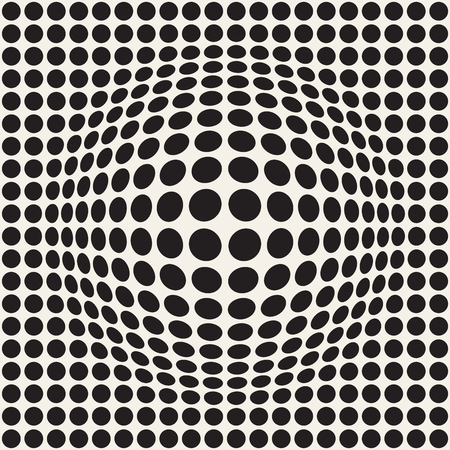 Halftone bloat effect optical illusion. Abstract geometric background design. Vector seamless retro black and white pattern. Illustration