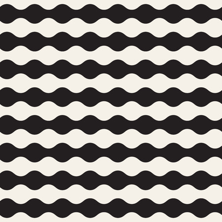 Trendy monochrome wavy lines design. Vector geometric seamless pattern Illustration