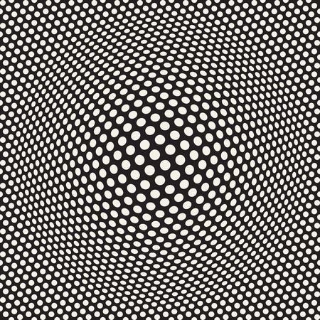 Halftone bloat effect optical illusion. Abstract geometric background design. Vector seamless retro black and white pattern. 向量圖像