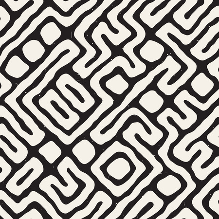 Maze lines seamless pattern abstract grungy background vector hand drawn labyrinth.
