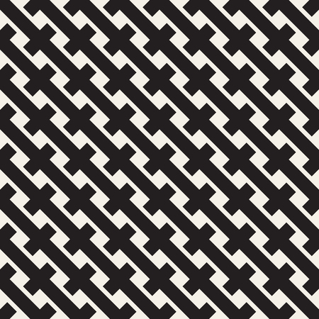 Weave Seamless Pattern. Stylish Repeating Texture. Braiding Background of Intersecting Stripes Lattice. Black and White Geometric Vector Illustration. Illusztráció