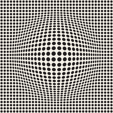 Halftone bloat effect optical illusion. Abstract geometric background design, vector seamless retro black and white pattern. Çizim