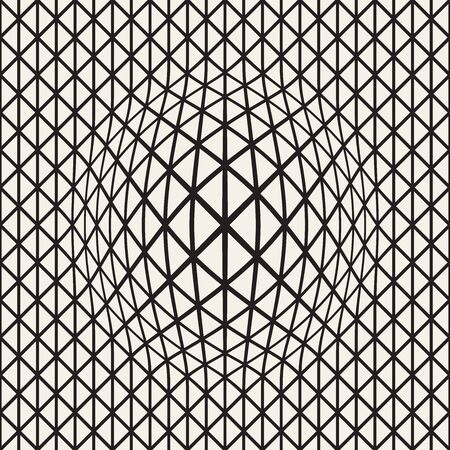 Halftone bloat effect optical illusion. Abstract geometric background design. Vector seamless retro black and white pattern. Stok Fotoğraf