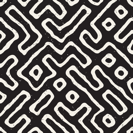 Seamless pattern with maze lines. Monochrome abstract grungy background. Vector hand drawn labyrinth. Stock Photo
